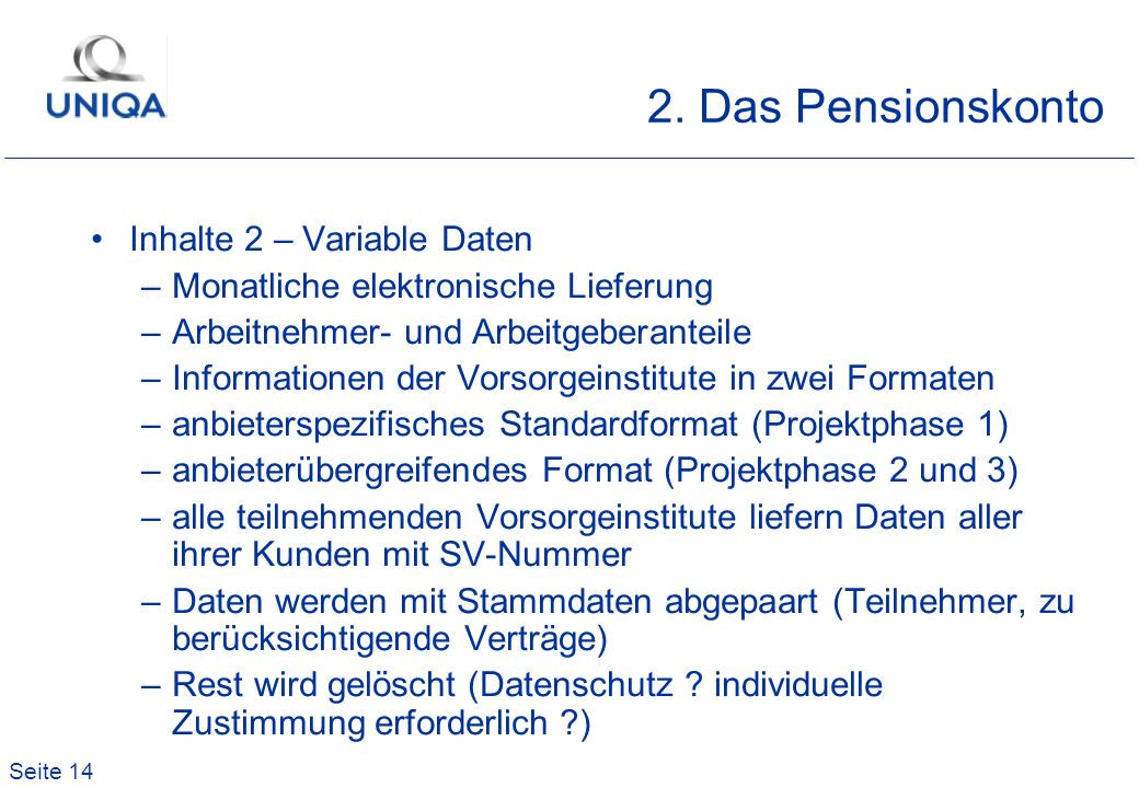 Seite 14 2. Das Pensionskonto Inhalte 2 – Variable Daten –Monatliche elektronische Lieferung –Arbeitnehmer- und Arbeitgeberanteile –Informationen der
