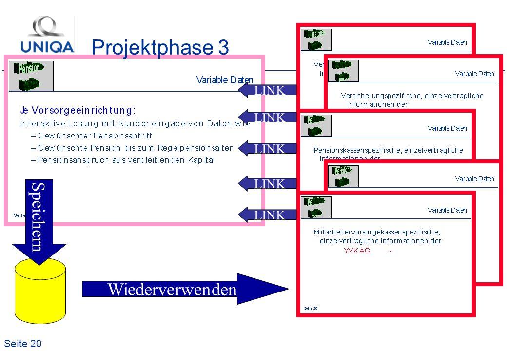 Seite 20 Projektphase 3 LINK Speichern Wiederverwenden