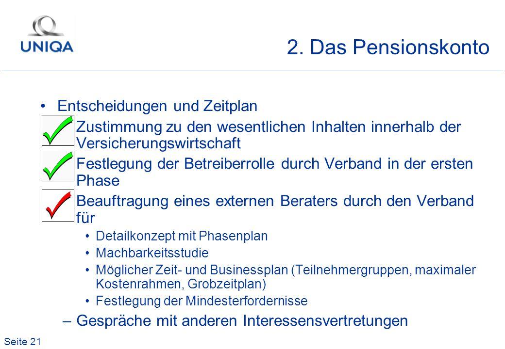 Seite 21 2. Das Pensionskonto Entscheidungen und Zeitplan –Zustimmung zu den wesentlichen Inhalten innerhalb der Versicherungswirtschaft –Festlegung d