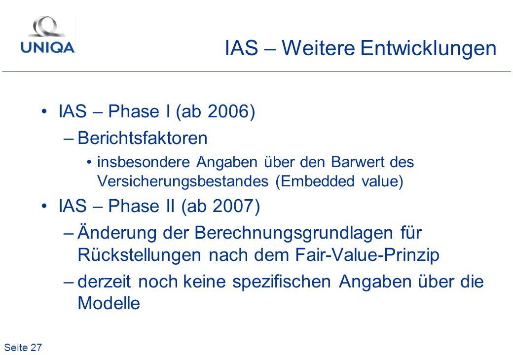 Seite 27 IAS – Weitere Entwicklungen IAS – Phase I (ab 2006) –Berichtsfaktoren insbesondere Angaben über den Barwert des Versicherungsbestandes (Embed