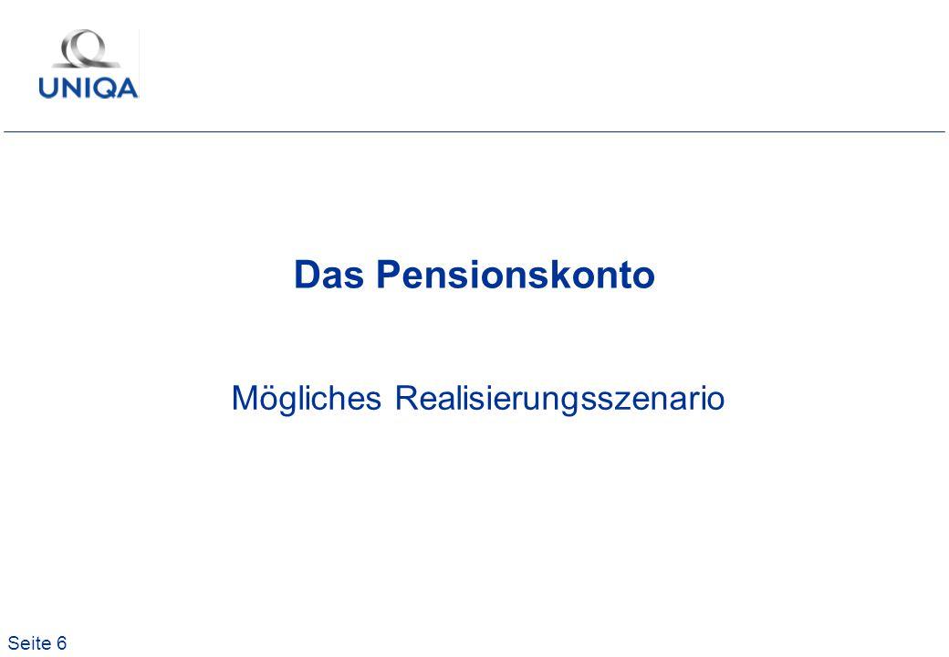 Seite 6 Das Pensionskonto Mögliches Realisierungsszenario