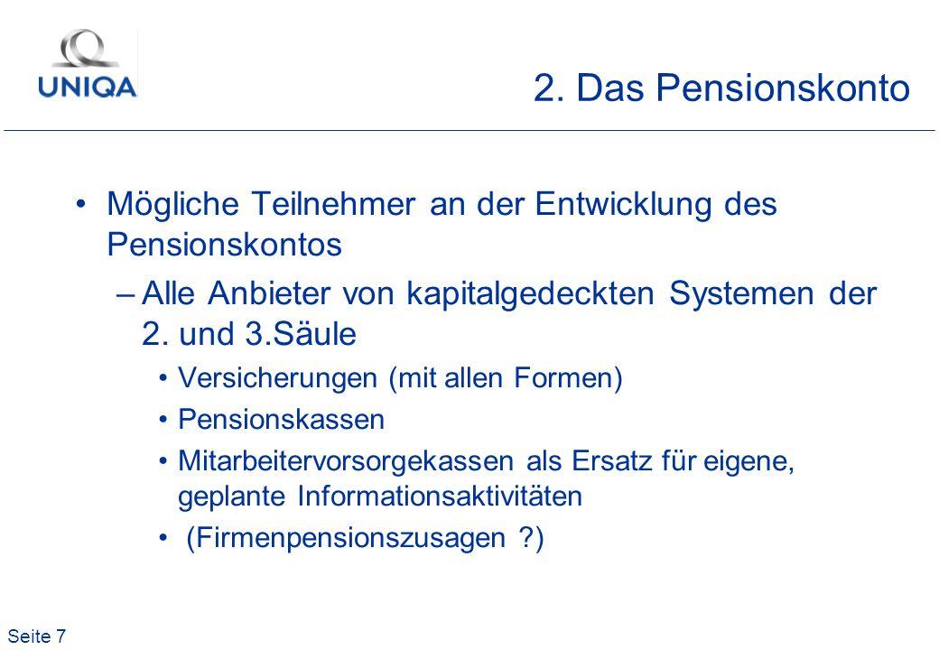 Seite 7 2. Das Pensionskonto Mögliche Teilnehmer an der Entwicklung des Pensionskontos –Alle Anbieter von kapitalgedeckten Systemen der 2. und 3.Säule