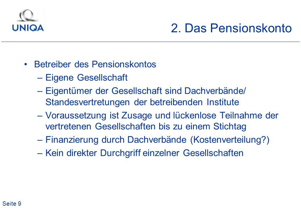 Seite 9 2. Das Pensionskonto Betreiber des Pensionskontos –Eigene Gesellschaft –Eigentümer der Gesellschaft sind Dachverbände/ Standesvertretungen der