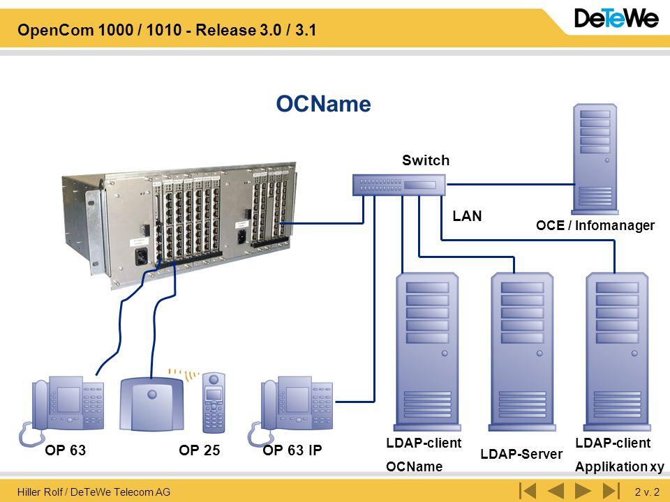Hiller Rolf / DeTeWe Telecom AG2 v. 2 OpenCom 1000 / 1010 - Release 3.0 / 3.1 OCName OP 25OP 63 LAN Switch OCE / Infomanager OP 63 IP LDAP-client OCNa