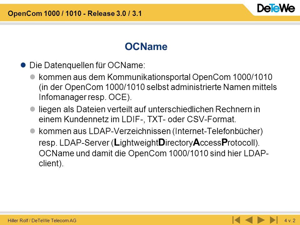 Hiller Rolf / DeTeWe Telecom AG4 v. 2 OpenCom 1000 / 1010 - Release 3.0 / 3.1 OCName Die Datenquellen für OCName: kommen aus dem Kommunikationsportal