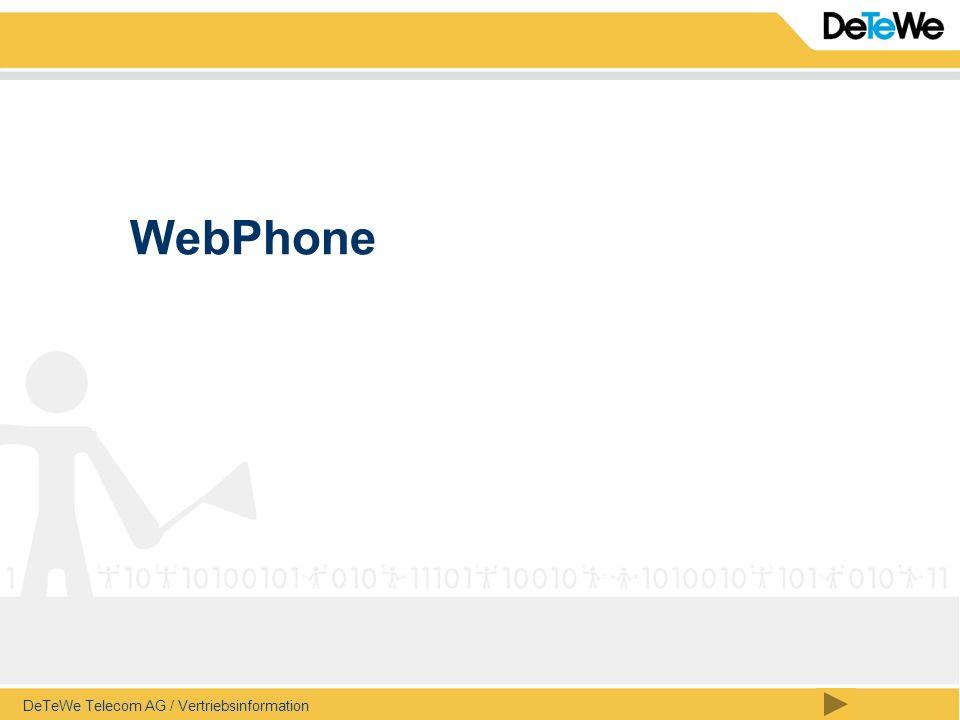 DeTeWe Telecom AG / Vertriebsinformation / Seite 2 WebPhone – Leistungsumfang (1) Anrufersliste beantwortete / unbeantwortete konfigurierbarer Löschzyklus, täglich, wöchentlich, xy-Tage Wahlwiederholungsliste konfigurierbarer Löschzyklus, täglich, wöchentlich, xy-Tage Telefonbuch auf der Basis der Kurzwahlliste der Anlage OpenCom1000 jedoch mit zusätzlichen Datenbankfeldern und CTI Funktion auf Projekbasis, können Kunden-Datenbanken angebunden werden