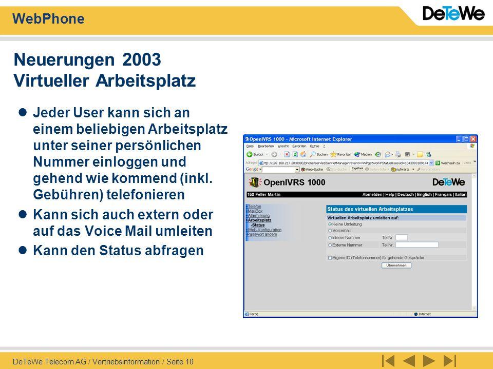 WebPhone DeTeWe Telecom AG / Vertriebsinformation / Seite 11 Neuerungen 2003 IVRS-WEB: TeamView mit Paralleler Umleitung Bei paralleler Umleitung des Büro- Telefones und einem GSM Handy (resp.