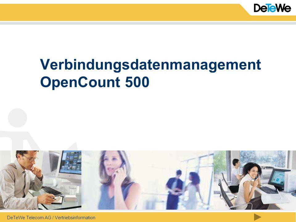 Inhalt DeTeWe Telecom AG / Vertriebsinformation / Seite 2 OpenCount 500 Transparenz bei den Telefonkosten Verteilung der Kosten im Unternehmen (z.
