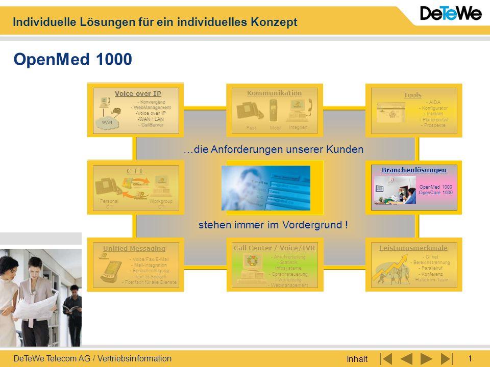 Individuelle Lösungen für ein individuelles Konzept Inhalt 1DeTeWe Telecom AG / Vertriebsinformation OpenMed 1000 Voice over IP - Konvergenz - WebMana