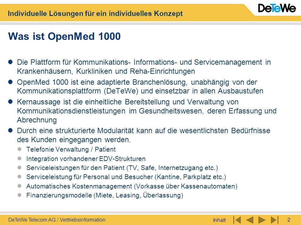 Individuelle Lösungen für ein individuelles Konzept Inhalt 3DeTeWe Telecom AG / Vertriebsinformation Was ist OpenMed 1000 Systemüberblick OpenMed 1000 wie heute verfügbar