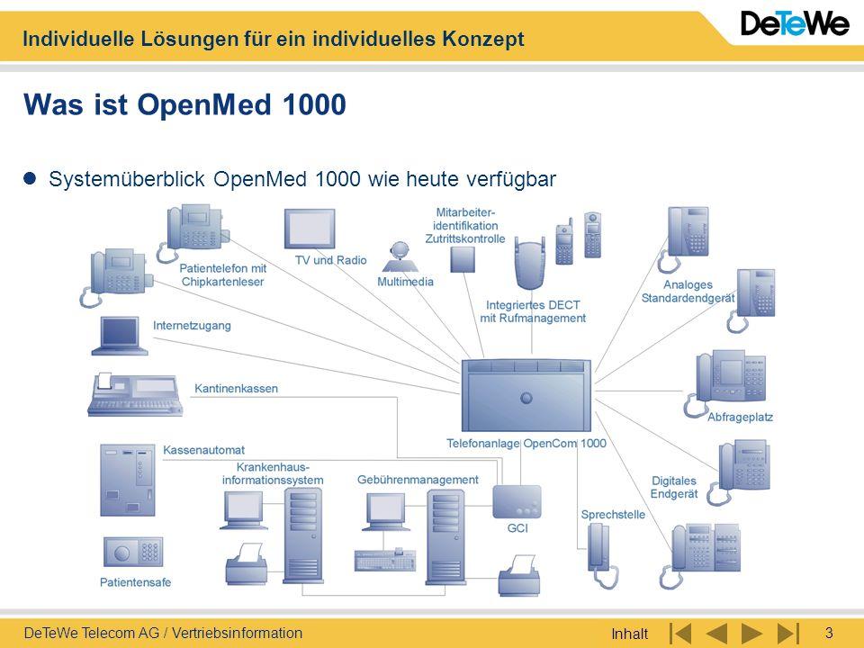 Individuelle Lösungen für ein individuelles Konzept Inhalt 3DeTeWe Telecom AG / Vertriebsinformation Was ist OpenMed 1000 Systemüberblick OpenMed 1000
