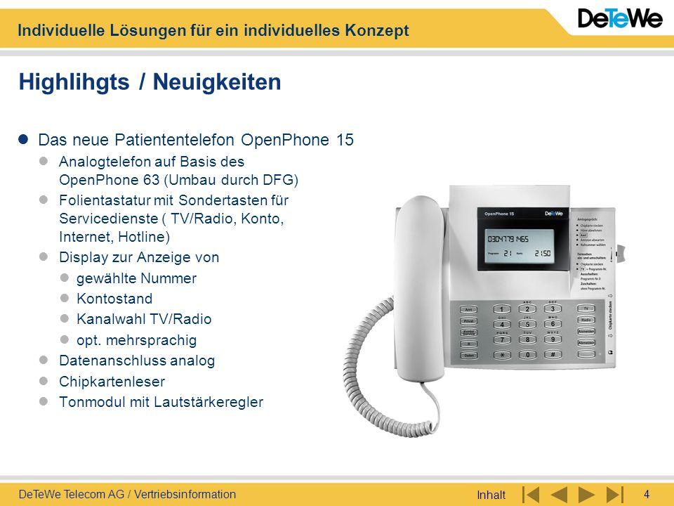 Individuelle Lösungen für ein individuelles Konzept Inhalt 4DeTeWe Telecom AG / Vertriebsinformation Highlihgts / Neuigkeiten Das neue Patiententelefo