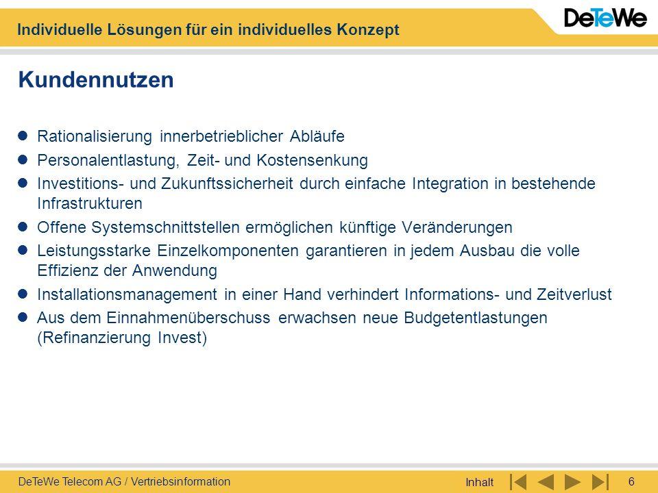Individuelle Lösungen für ein individuelles Konzept Inhalt 6DeTeWe Telecom AG / Vertriebsinformation Kundennutzen Rationalisierung innerbetrieblicher