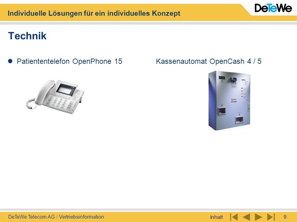 Individuelle Lösungen für ein individuelles Konzept Inhalt 9DeTeWe Telecom AG / Vertriebsinformation Technik Patiententelefon OpenPhone 15Kassenautoma