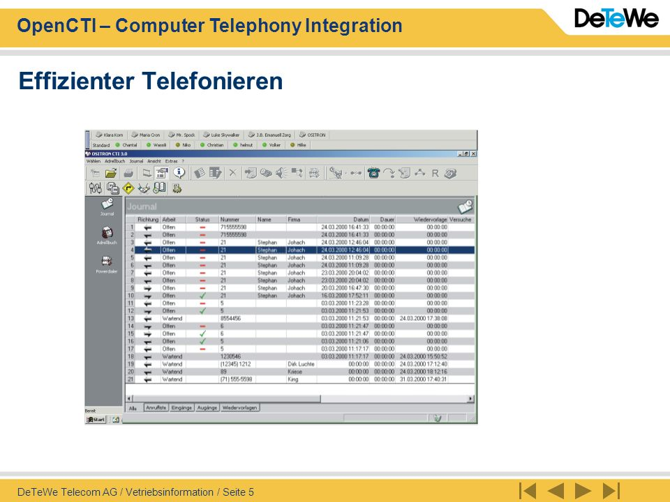 OpenCTI – Computer Telephony Integration DeTeWe Telecom AG / Vetriebsinformation / Seite 5 Effizienter Telefonieren