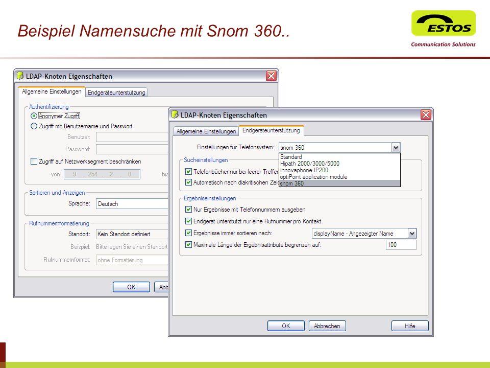 Beispiel Namensuche mit Snom 360..