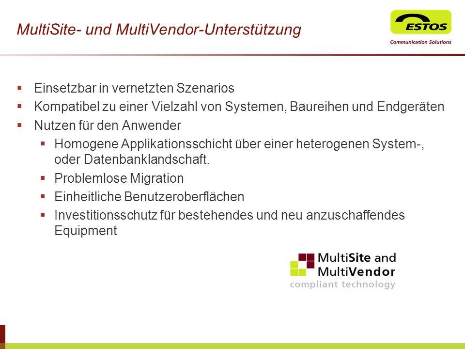 MultiSite- und MultiVendor-Unterstützung Einsetzbar in vernetzten Szenarios Kompatibel zu einer Vielzahl von Systemen, Baureihen und Endgeräten Nutzen