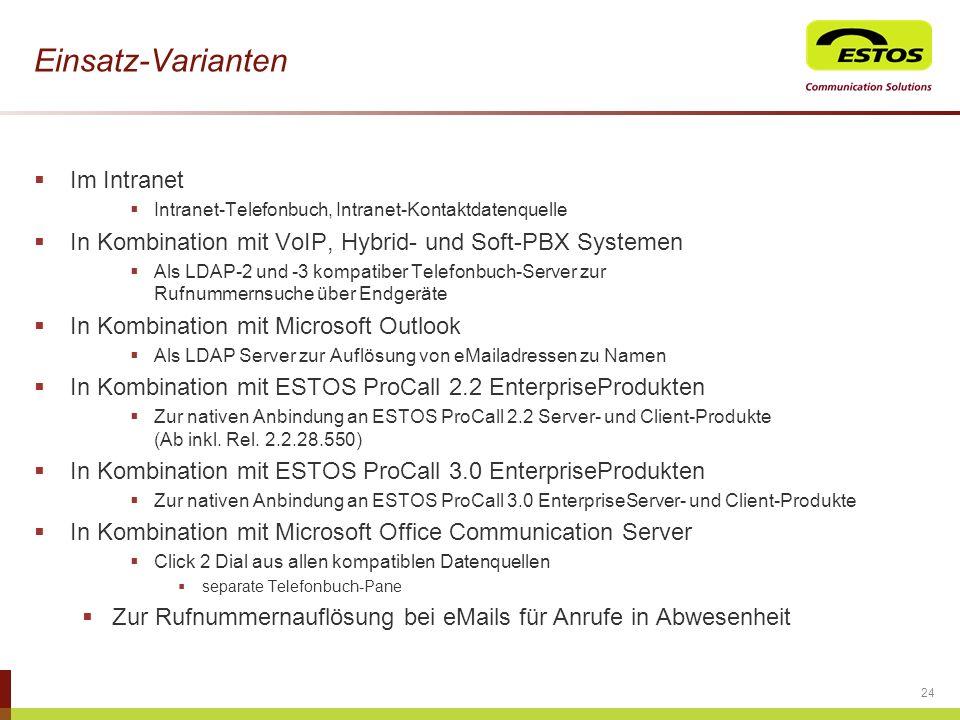 Einsatz-Varianten Im Intranet Intranet-Telefonbuch, Intranet-Kontaktdatenquelle In Kombination mit VoIP, Hybrid- und Soft-PBX Systemen Als LDAP-2 und