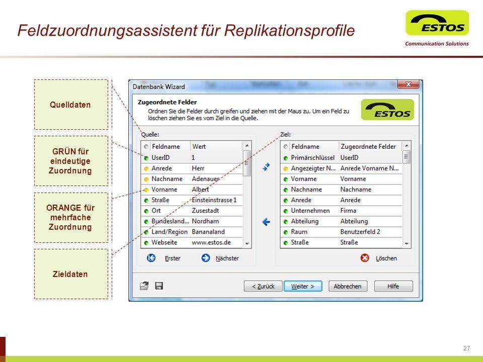 27 Feldzuordnungsassistent für Replikationsprofile Quelldaten Zieldaten GRÜN für eindeutige Zuordnung ORANGE für mehrfache Zuordnung