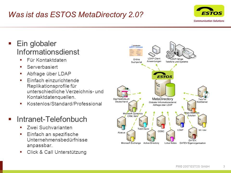 34PM© 2007 ESTOS GmbH ESTOS Kontakt ESTOS GmbH Communication Solutions Petersbrunner Str.