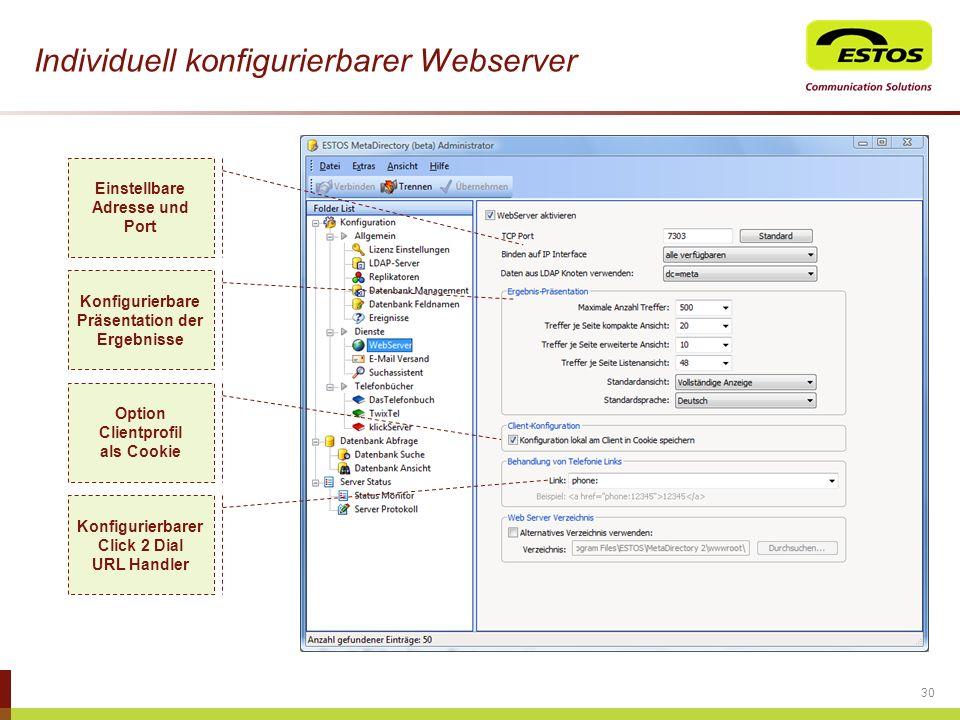 Individuell konfigurierbarer Webserver 30 Einstellbare Adresse und Port Konfigurierbarer Click 2 Dial URL Handler Konfigurierbare Präsentation der Erg