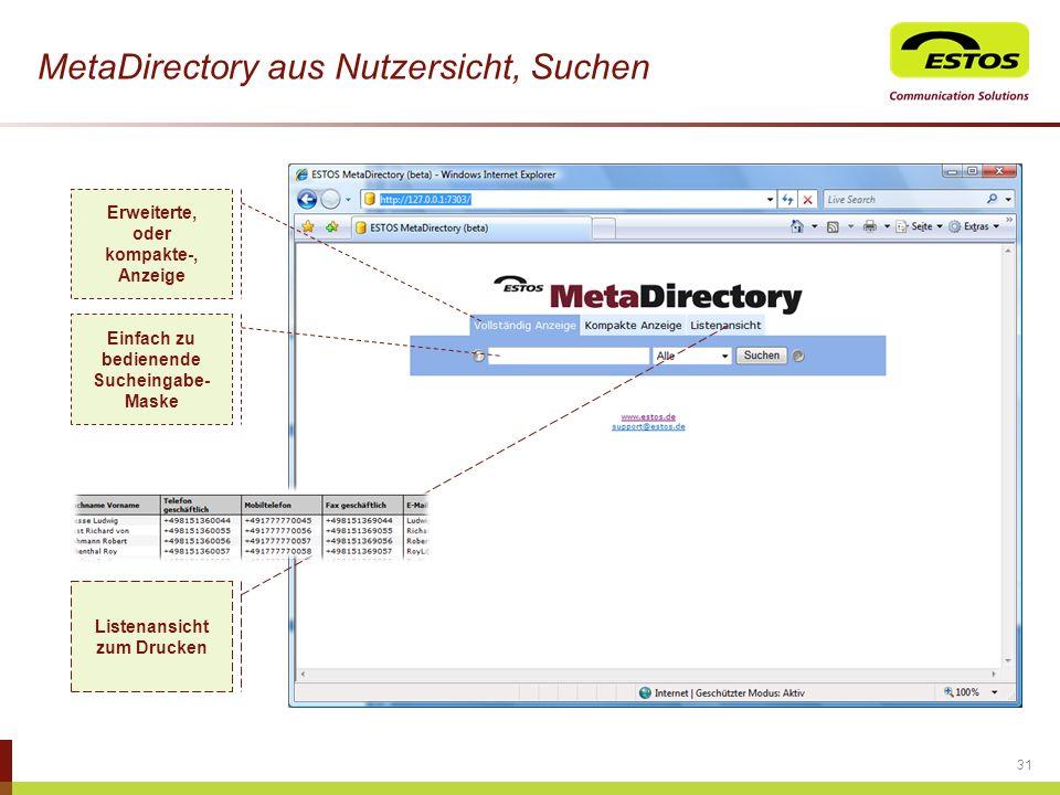 MetaDirectory aus Nutzersicht, Suchen 31 Erweiterte, oder kompakte-, Anzeige Einfach zu bedienende Sucheingabe- Maske Listenansicht zum Drucken