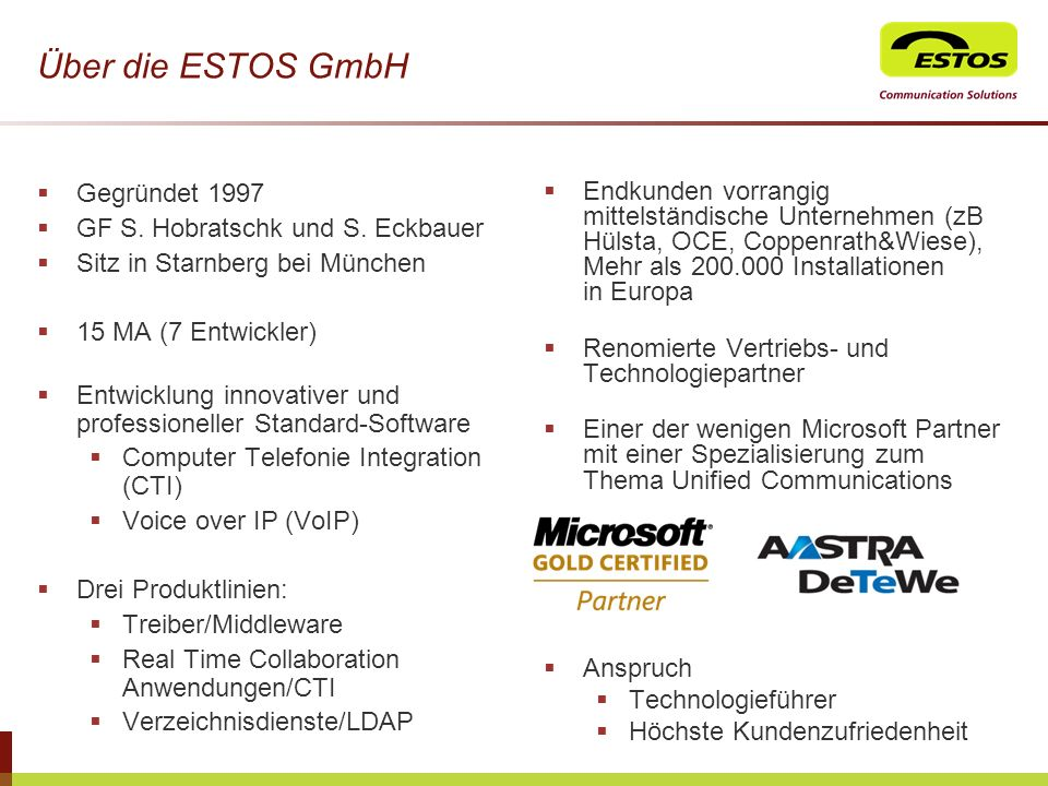 USP Active Contacts Technologie (1/2) Jeder User bzw.