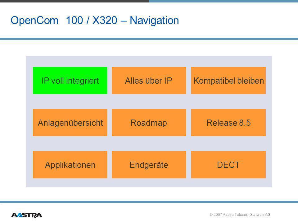 © 2007 Aastra Telecom Schweiz AG Module für Sondersteckplätze X300 »M300-FaxV24 – Baugruppe für Fax und V.24 –Neues Modul für OpenCom X320 –Fax-Empfang mit einer Box (Erweiterung auf 10 Boxen mit Rel.