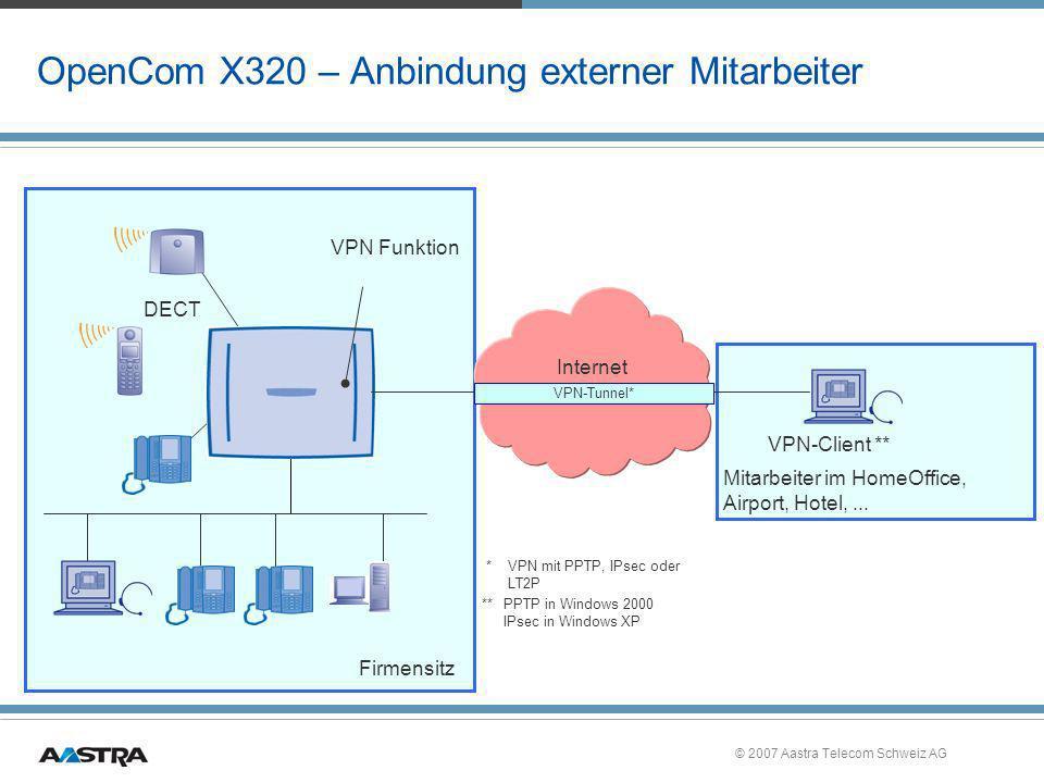 © 2007 Aastra Telecom Schweiz AG OpenCom X320 – Anbindung externer Mitarbeiter Internet DECT VPN Funktion VPN-Client ** Mitarbeiter im HomeOffice, Air