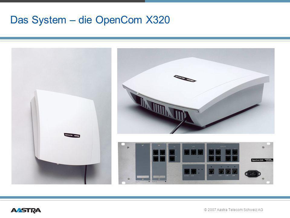 © 2007 Aastra Telecom Schweiz AG Release 8.5 Übersicht T.6 »OpenCom X320 –Umstellung des Traffic-Shaping von HTB- auf das besser regelnde HFSC-Verfahren »Konfigurierbare Priorität bei Soft-MGW –Mit Hilfe eines zentralen Schalters kann man konfigurieren, ob bei G.711 ein MGW-Kanal oder ein Soft-MGW-Kanal verwendet werden soll »Routing zwischen IPsec-Tunneln »Die Kanäle des OpenVoice werden nach Weiterverbinden auf anderen Teilnehmer nur noch so lange reserviert, wie sie benötigt werden –Ist keine Reaktion nach Timeout konfiguriert, werden die Kanäle nach einem Alert der B-Seite wieder freigegeben