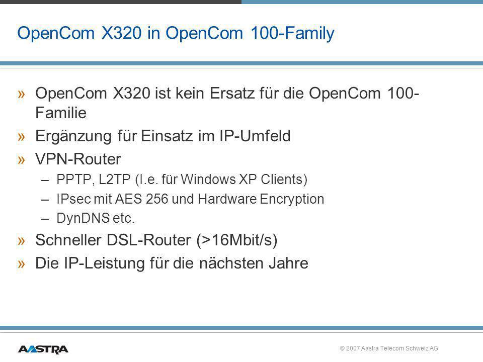 © 2007 Aastra Telecom Schweiz AG Kreditkartenterminal mit X.31 - Protokoll »X.31 ist der Zugriff auf das X.25-Netz (ISDN-Pac) über ISDN für Kassenterminals an S0 Anschlüssen (ISDN-Pac wurde von Swisscom auf den 01.01.08 abgekündigt) »Die Konfiguration erfolgt über PBX Konfiguration - X.31 »Jeder Route bekommt einen Namen »Es sind maximal 10 Routen möglich »Jeder Anschluss darf in zwei Routen vorkommen »Die TEI-Werte müssen mit dem Netzanbieter vereinbart werden.