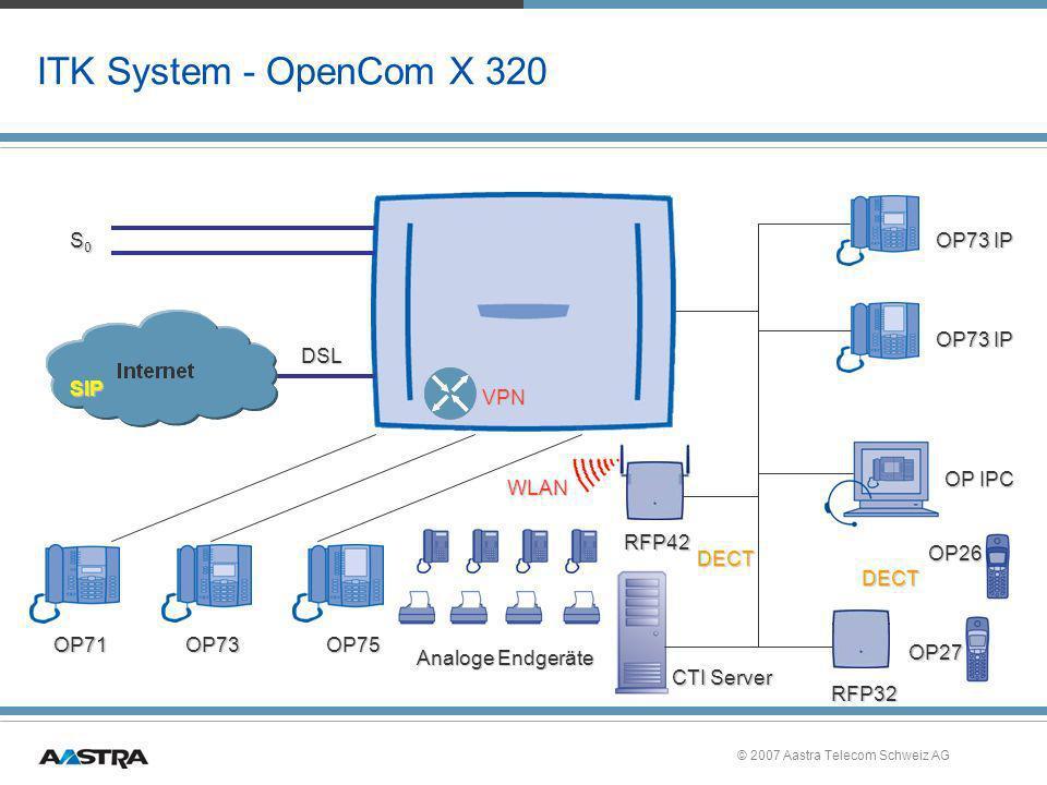 © 2007 Aastra Telecom Schweiz AG Einführung OpenCom X320 »Neue Anlage OpenCom X320 Lieferbar ab Juni 2007 »OpenCom X320rack: Juni 2007 »Bestandssicherung: Wesentliche neue Features sind mit Release 8 für alle OpenCom 100 modular verfügbar –DECToverIP ® –Q.SIG over IP (nur mit OpenCom 100 / X300) –SIP-Amtszugang –VPN-Verbindung zwischen OpenCom X320 (mit OpenCom 100 modular externer VPN-Router nötig)