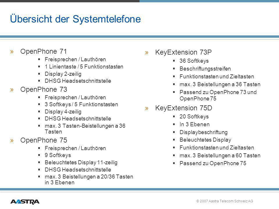© 2007 Aastra Telecom Schweiz AG Übersicht der Systemtelefone »OpenPhone 71 Freisprechen / Lauthören 1 Linientaste / 5 Funktionstasten Display 2-zeili