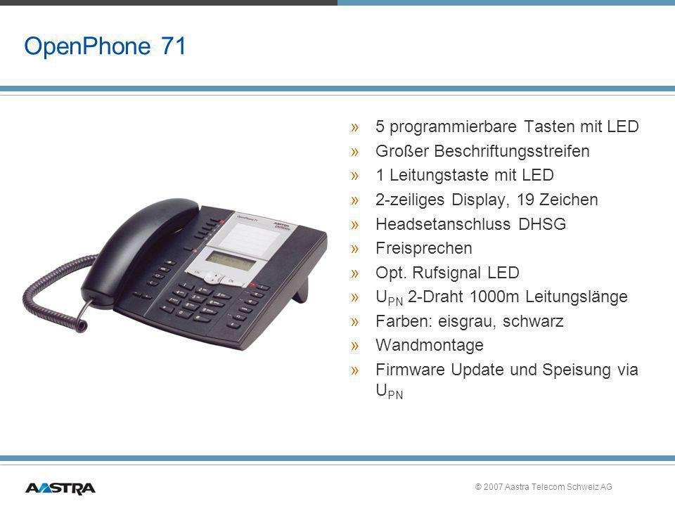 © 2007 Aastra Telecom Schweiz AG OpenPhone 71 »5 programmierbare Tasten mit LED »Großer Beschriftungsstreifen »1 Leitungstaste mit LED »2-zeiliges Dis