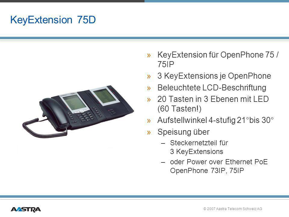 © 2007 Aastra Telecom Schweiz AG KeyExtension 75D »KeyExtension für OpenPhone 75 / 75IP »3 KeyExtensions je OpenPhone »Beleuchtete LCD-Beschriftung »2