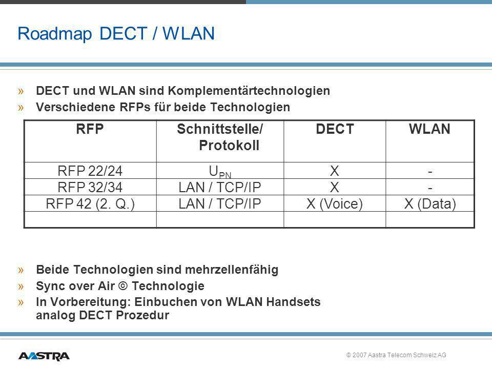 © 2007 Aastra Telecom Schweiz AG Roadmap DECT / WLAN »DECT und WLAN sind Komplementärtechnologien »Verschiedene RFPs für beide Technologien »Beide Tec