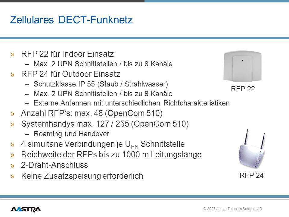 © 2007 Aastra Telecom Schweiz AG Zellulares DECT-Funknetz »RFP 22 für Indoor Einsatz –Max. 2 UPN Schnittstellen / bis zu 8 Kanäle »RFP 24 für Outdoor