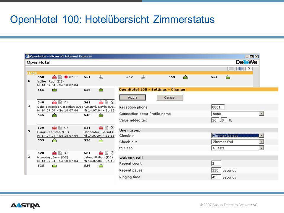 © 2007 Aastra Telecom Schweiz AG OpenHotel 100: Hotelübersicht Zimmerstatus