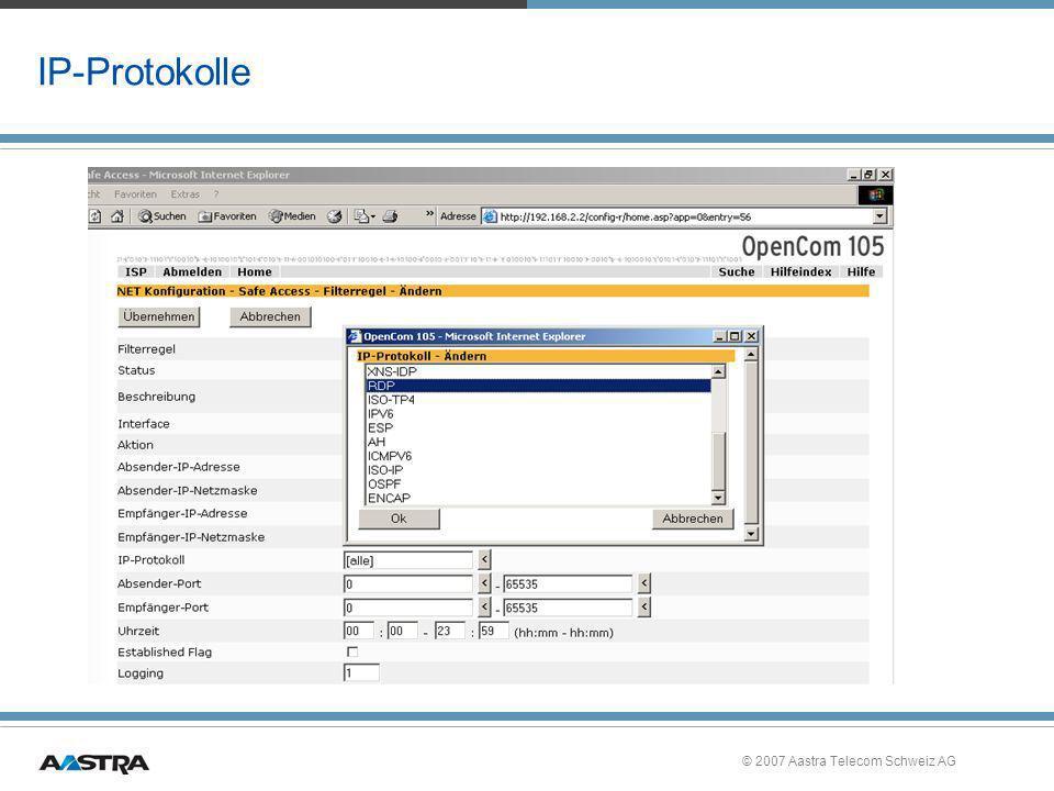 © 2007 Aastra Telecom Schweiz AG IP-Protokolle