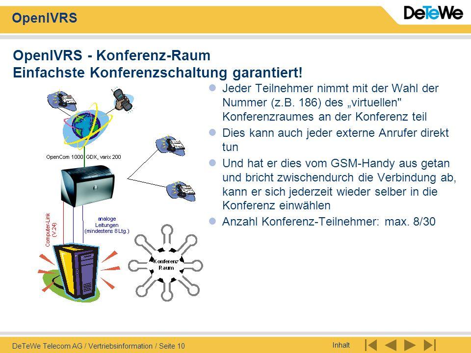 Inhalt OpenIVRS DeTeWe Telecom AG / Vertriebsinformation / Seite 10 OpenIVRS - Konferenz-Raum Einfachste Konferenzschaltung garantiert! Jeder Teilnehm