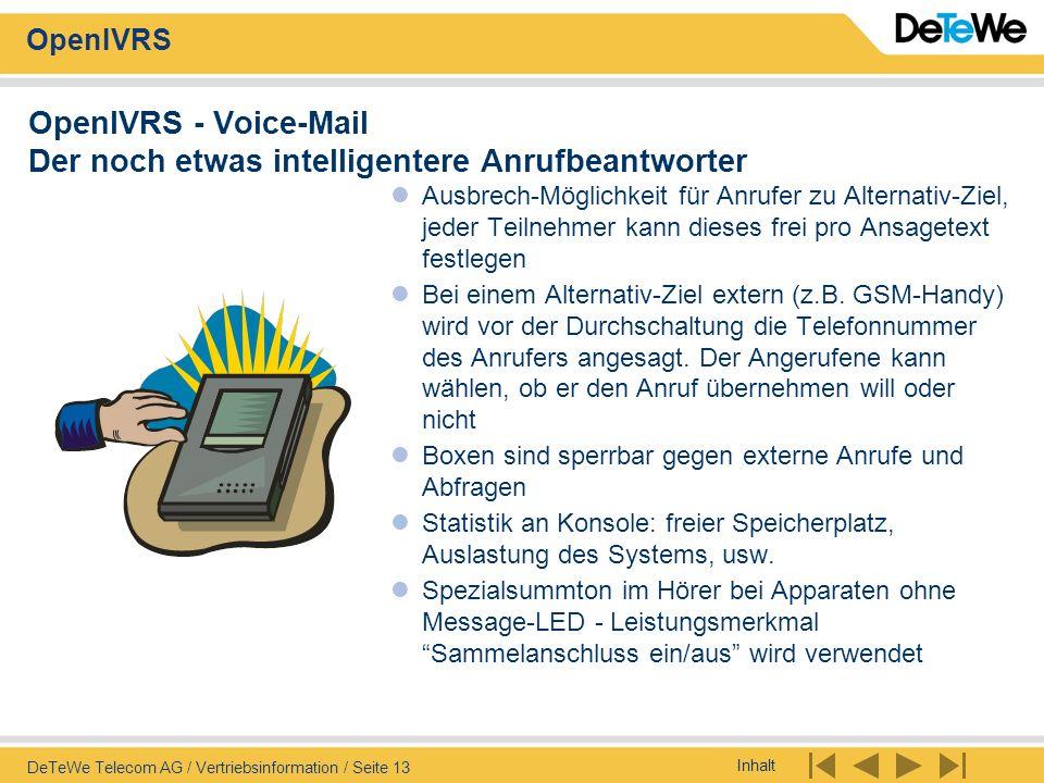 Inhalt OpenIVRS DeTeWe Telecom AG / Vertriebsinformation / Seite 13 OpenIVRS - Voice-Mail Der noch etwas intelligentere Anrufbeantworter Ausbrech-Mögl