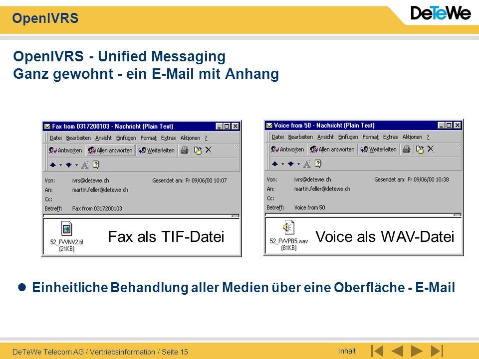 Inhalt OpenIVRS DeTeWe Telecom AG / Vertriebsinformation / Seite 15 Fax als TIF-DateiVoice als WAV-Datei OpenIVRS - Unified Messaging Ganz gewohnt - e