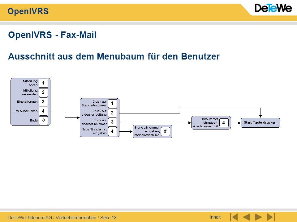 Inhalt OpenIVRS DeTeWe Telecom AG / Vertriebsinformation / Seite 18 OpenIVRS - Fax-Mail Ausschnitt aus dem Menubaum für den Benutzer