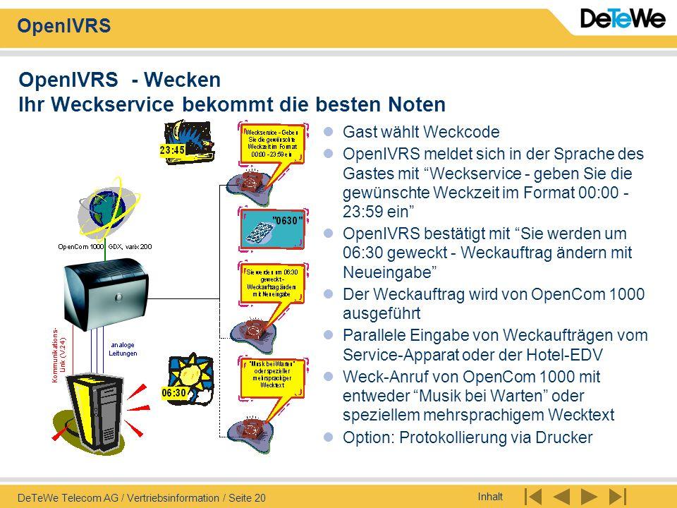 Inhalt OpenIVRS DeTeWe Telecom AG / Vertriebsinformation / Seite 20 OpenIVRS - Wecken Ihr Weckservice bekommt die besten Noten Gast wählt Weckcode Ope