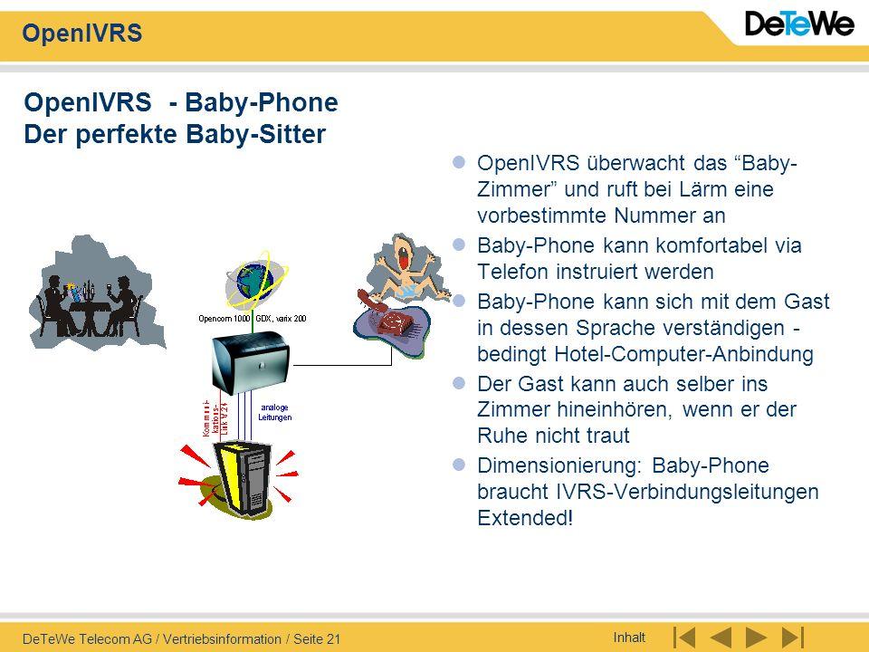 Inhalt OpenIVRS DeTeWe Telecom AG / Vertriebsinformation / Seite 21 OpenIVRS - Baby-Phone Der perfekte Baby-Sitter OpenIVRS überwacht das Baby- Zimmer