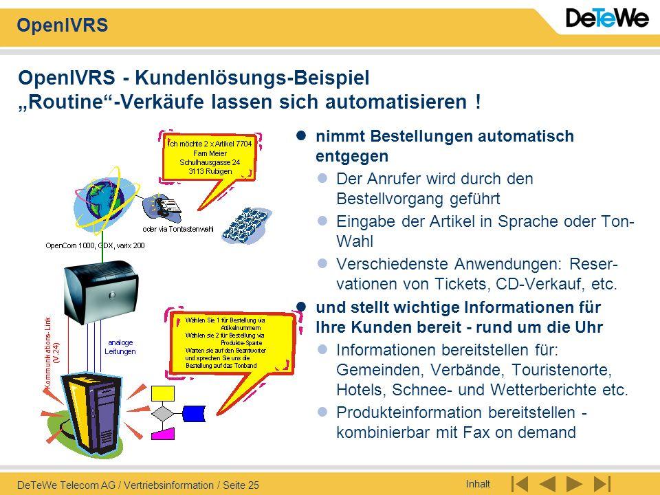 Inhalt OpenIVRS DeTeWe Telecom AG / Vertriebsinformation / Seite 25 OpenIVRS - Kundenlösungs-Beispiel Routine-Verkäufe lassen sich automatisieren ! ni
