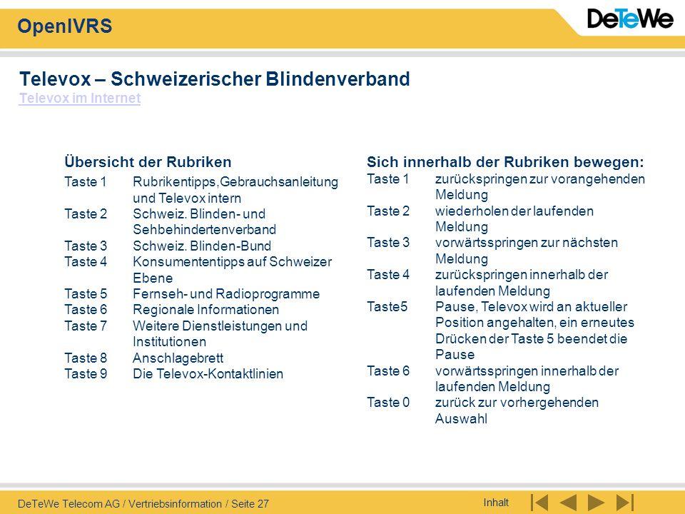 Inhalt OpenIVRS DeTeWe Telecom AG / Vertriebsinformation / Seite 27 Televox – Schweizerischer Blindenverband Televox im Internet Televox im Internet S