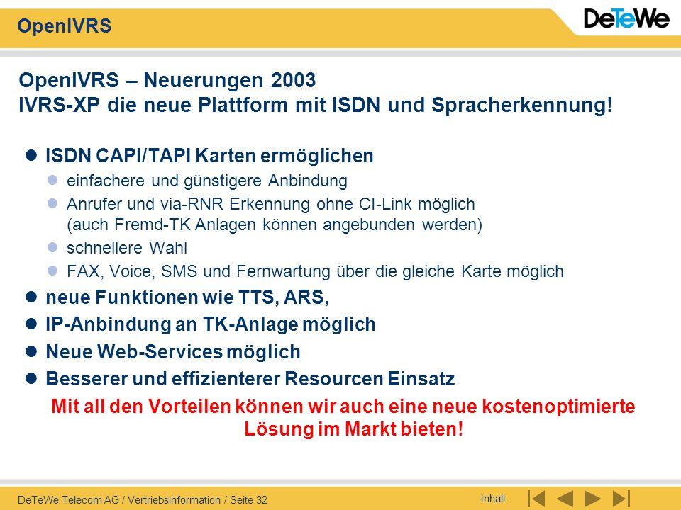 Inhalt OpenIVRS DeTeWe Telecom AG / Vertriebsinformation / Seite 32 OpenIVRS – Neuerungen 2003 IVRS-XP die neue Plattform mit ISDN und Spracherkennung