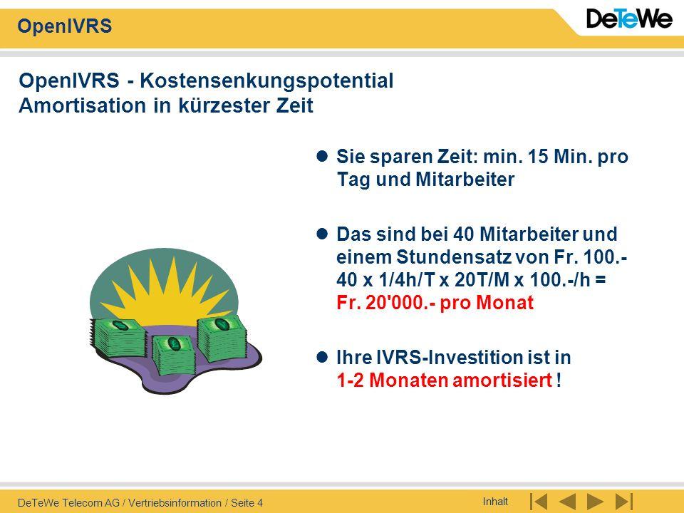 Inhalt OpenIVRS DeTeWe Telecom AG / Vertriebsinformation / Seite 25 OpenIVRS - Kundenlösungs-Beispiel Routine-Verkäufe lassen sich automatisieren .