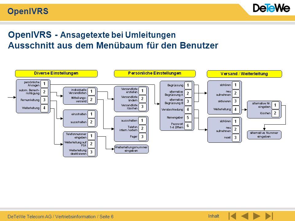 Inhalt OpenIVRS DeTeWe Telecom AG / Vertriebsinformation / Seite 6 OpenIVRS - Ansagetexte bei Umleitungen Ausschnitt aus dem Menübaum für den Benutzer